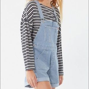 NWOT Wrangler striped shortall overall